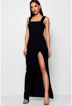 Womens Black Square Neck Tie Side Split Maxi Dress