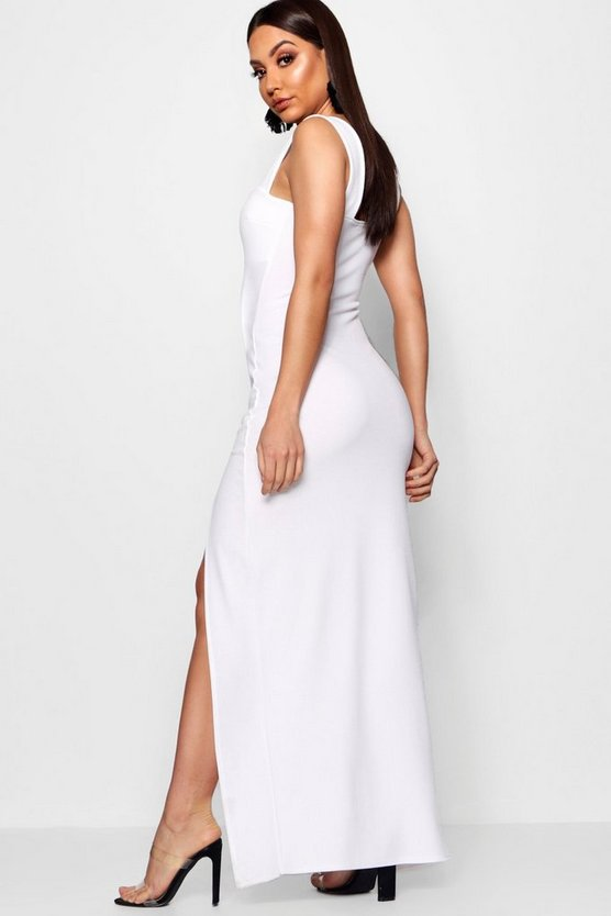 Square Neck Tie Side Split Maxi Dress
