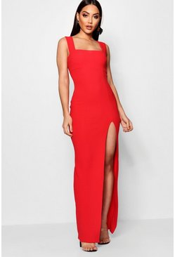 Red Square Neck Tie Side Split Maxi Dress