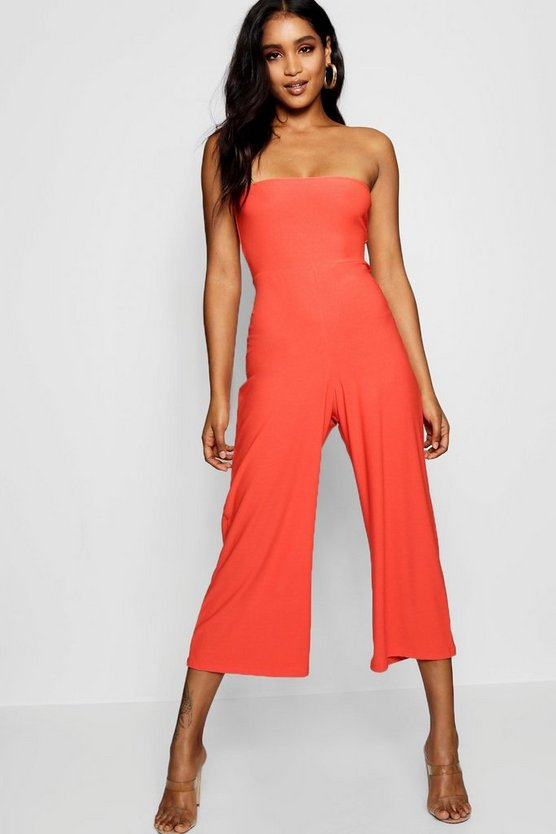 Womens Orange Bandeau Culotte Jumpsuit