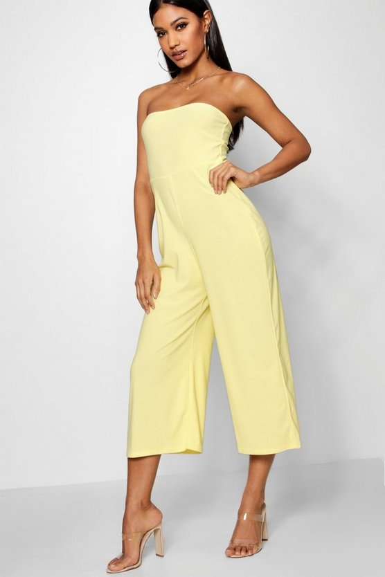 Womens Yellow Bandeau Culotte Jumpsuit