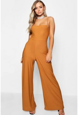 Womens Mustard Square Neck Wide Leg Jumpsuit