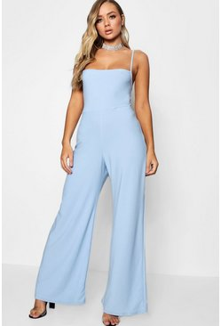 Womens Sky Square Neck Wide Leg Jumpsuit