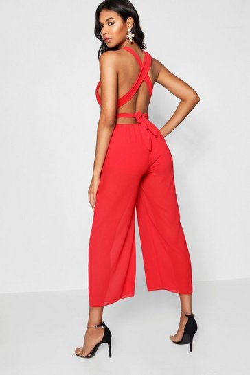 Womens Red Cross Back Wide Leg Jumpsuit
