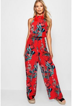 Womens Red High Neck Floral Wide Leg Jumpsuit