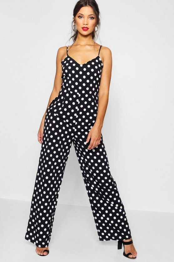 Polka Dot Wide Leg Cami Jumpsuit