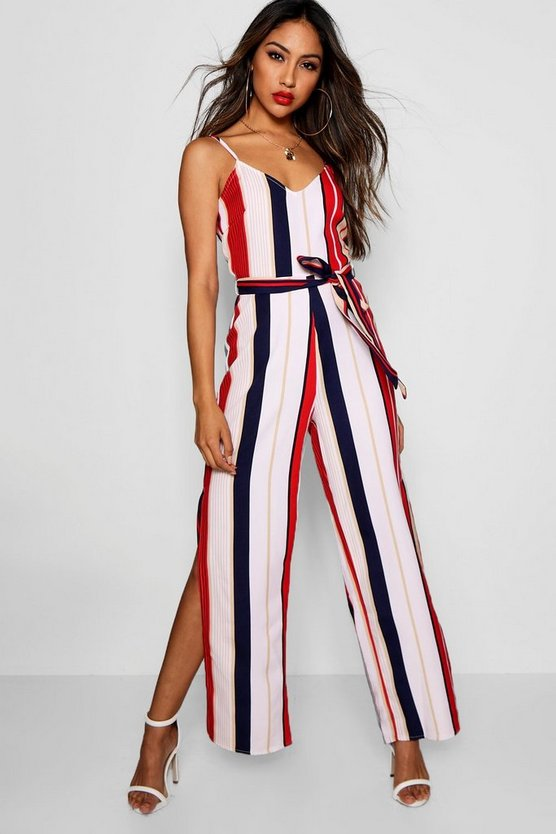 White Wide Leg Striped Jumpsuit