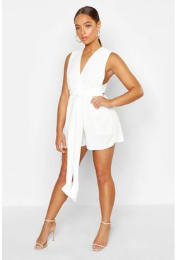Ivory Plunge Tie Front Playsuit