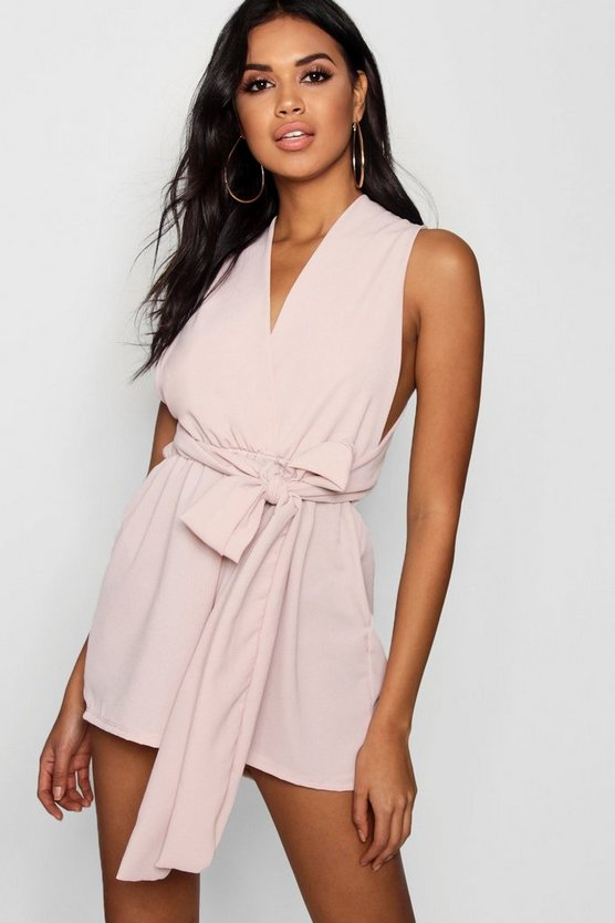 Womens Millennial pink Plunge Tie Front Playsuit