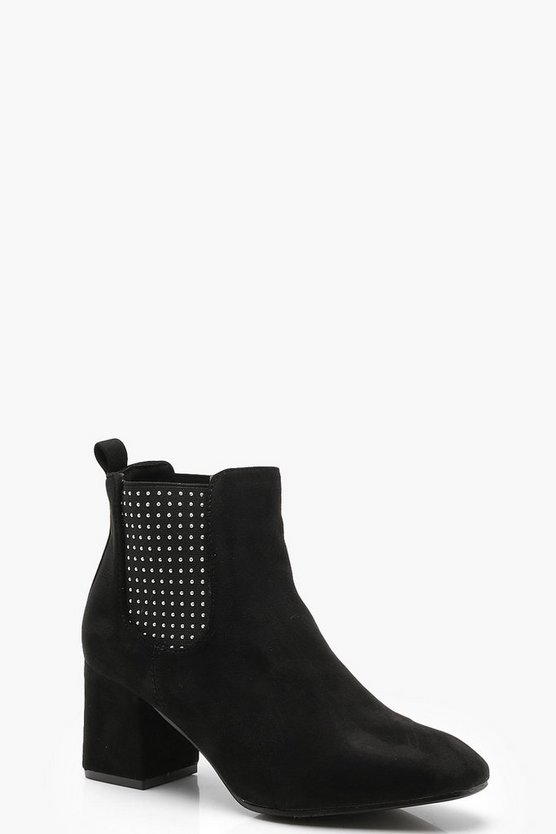 Womens Black Pin Stud Chelsea Boots