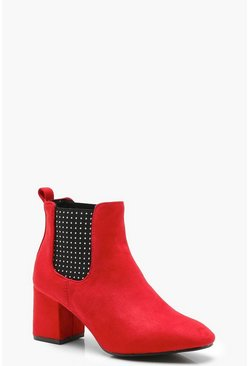 Womens Red Pin Stud Chelsea Boots