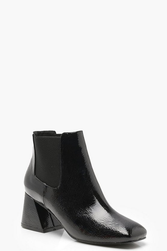 Flare Heel Ankle Chelsea Boots