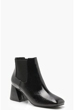 Womens Black Flare Heel Ankle Chelsea Boots