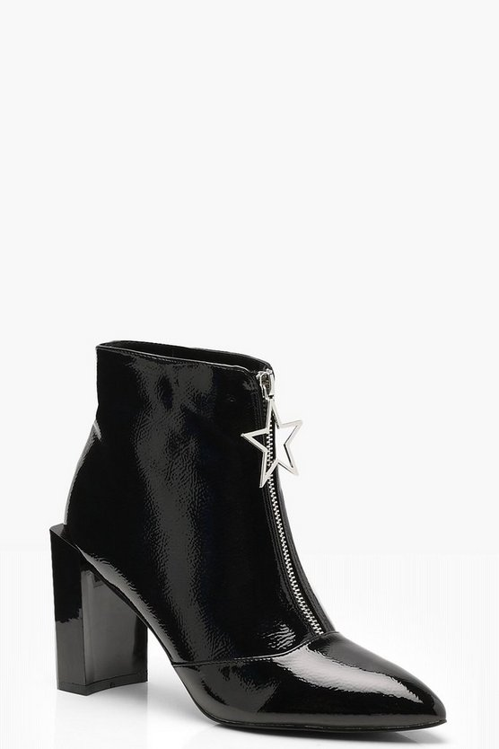 Womens Black Star Trim Block Heel Ankle Shoe Boots