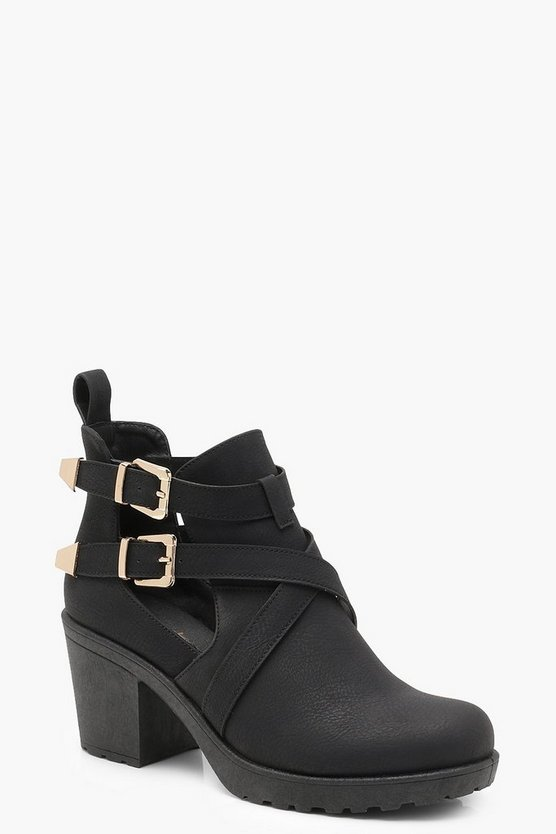 Womens Black Cleated Chelsea Cut Work Buckle Ankle Boots