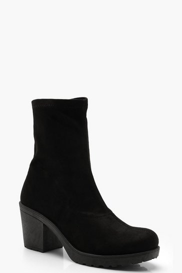 Womens Black Cleated Sock Ankle Boots