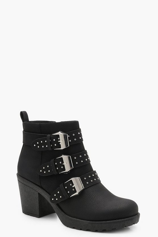 Pin Stud Cleated Chelsea Ankle Boots