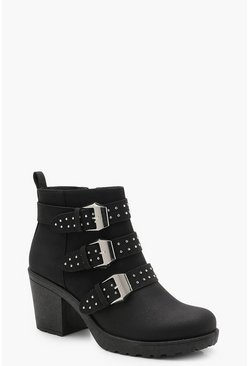 Womens Black Pin Stud Cleated Chelsea Ankle Boots