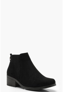 Womens Black V Detail Chelsea Boots