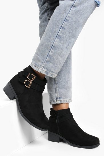 Womens Black Double Buckle Chelsea Ankle Boots
