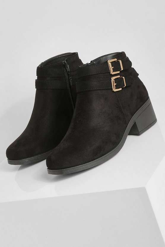 Double Buckle Chelsea Ankle Boots