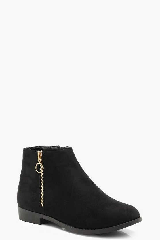 Womens Black Suedette O Ring Zip Chelsea Ankle Boots
