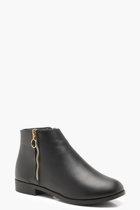 O Ring Zip Chelsea Ankle Boots