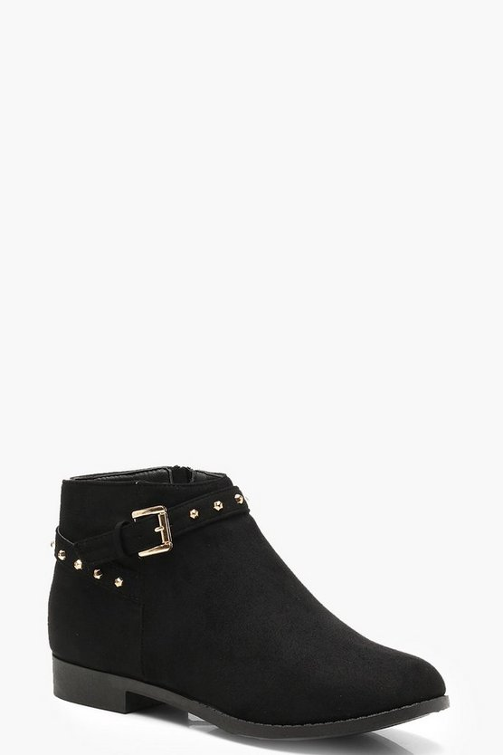 Suedette Studded Chelsea Ankle Strap Boots