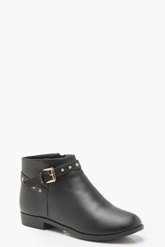 Womens Black Studded Ankle Strap Chelsea Boots