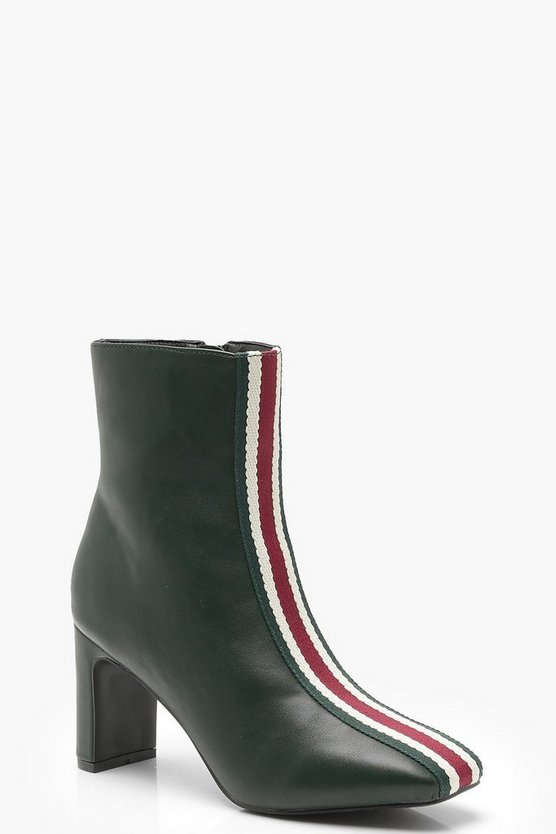 Womens Green Sports Stripe Ankle Shoe Boots
