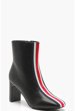 Womens Black Sports Stripe Ankle Shoe Boots