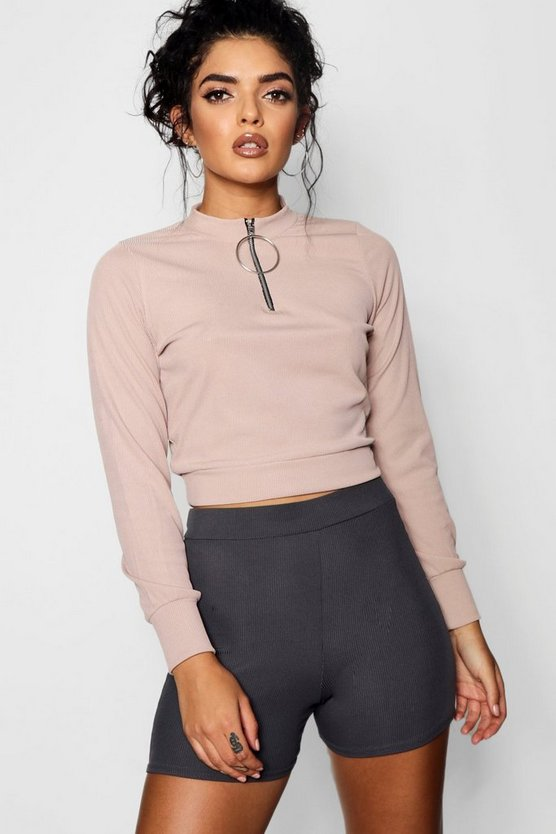 O Ring Zip High Neck Top
