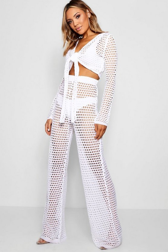 Womens White Tie Front Crochet Flare Trouser Set