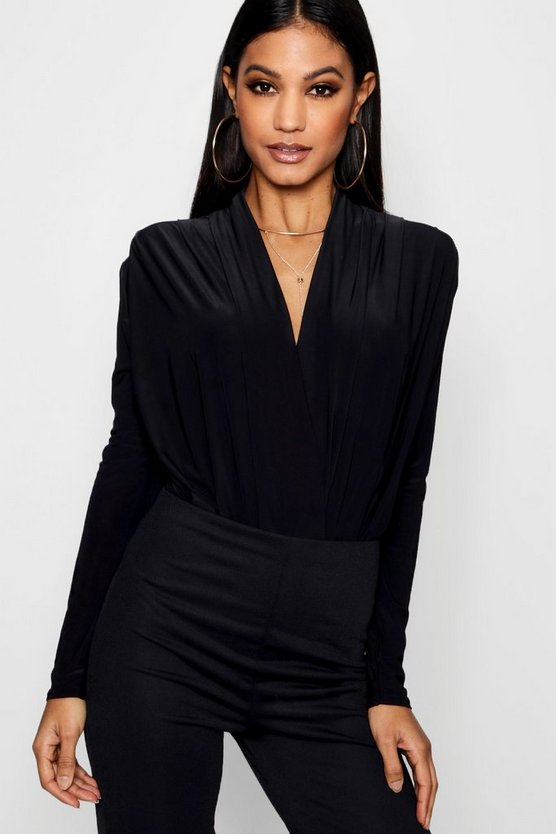 Womens Black Wrap Front Bodysuit