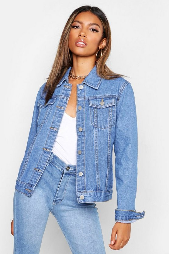 Mid blue Fitted Denim Jacket