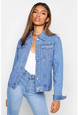 Womens Mid blue Fitted Denim Jacket