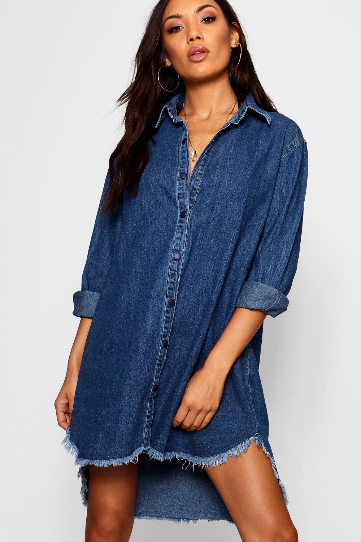oscuro vaquero Daisy en Vestido deshilachado azul estilo camisa 0qK6w