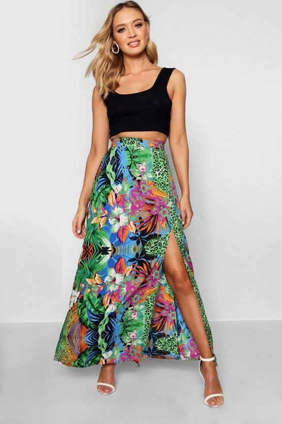 Green Tropical Mix Split Maxi Skirt