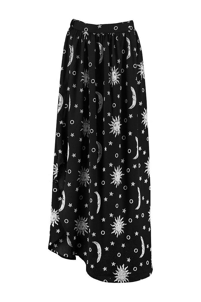 34dadc15c9b5a Woven Moon Print Split Maxi Skirt   Boohoo