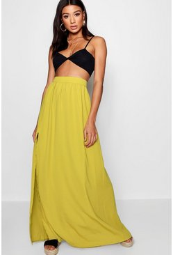 Womens Citrus lime Basic Woven Floor Sweeping Maxi Skirt