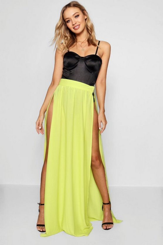 Womens Citrus lime Woven Extreme Side Split Maxi Skirt