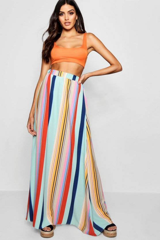 Womens Ivory Woven Stripe Floor Sweeping Maxi Skirt