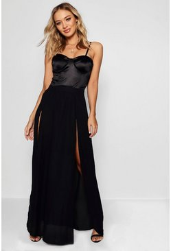 Womens Black Woven Double Split & Tie Maxi Skirt