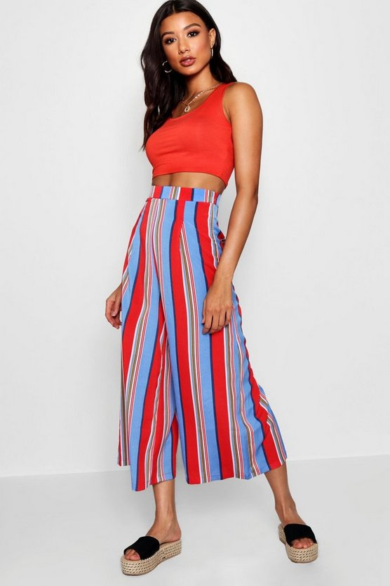 Baby pink Woven Bold Stripe High Waist Culottes