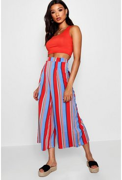 Womens Baby pink Woven Bold Stripe High Waist Culottes