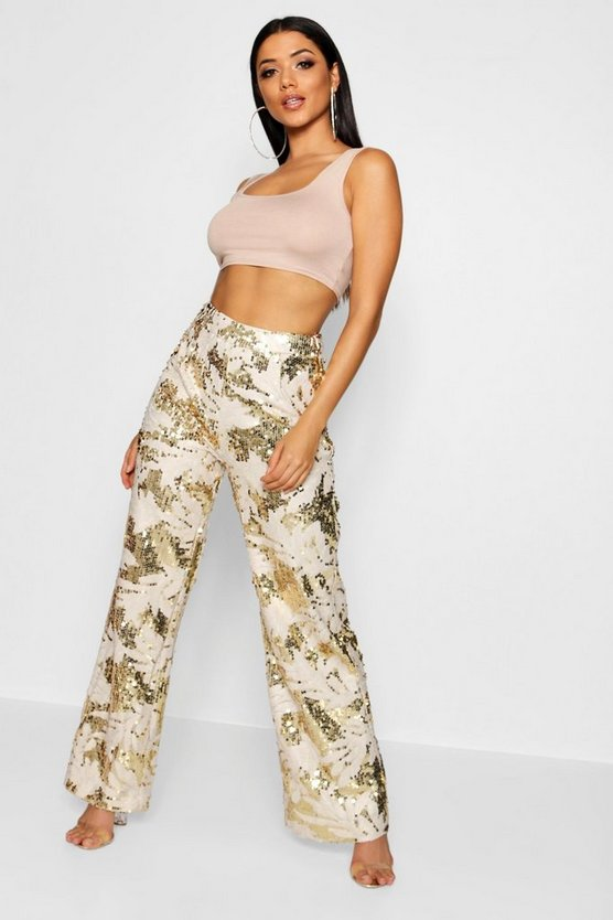 Palm All Over Sequin Wide Leg Trouser