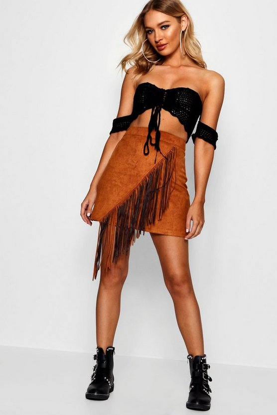 Womens Tan Woven Suedette Extreme Tassel Mini Skirt