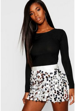 Silver Multi Disc Sequin Mini Skirt