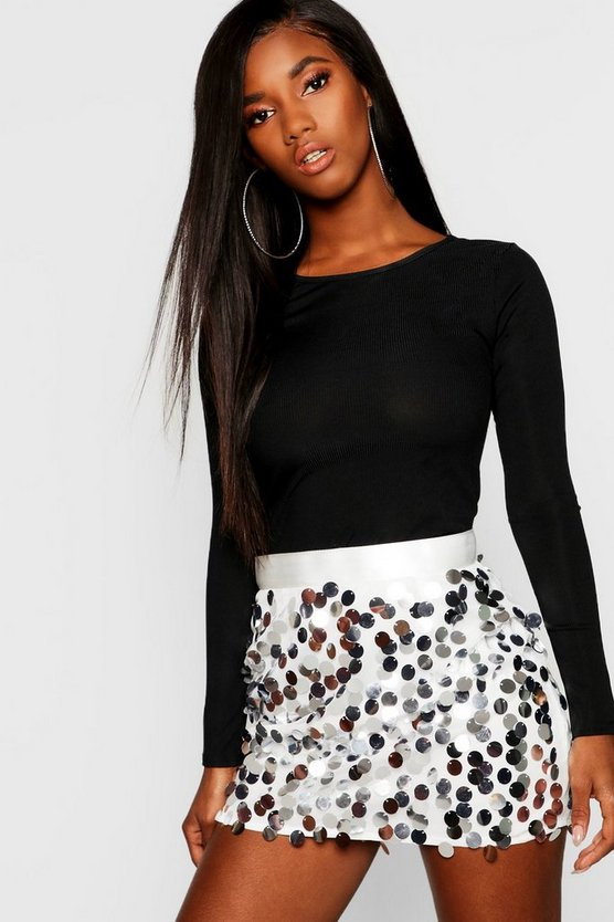 Womens Silver Multi Disc Sequin Mini Skirt
