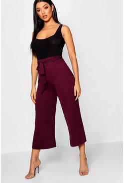 Womens Berry Tie Waist Woven Satin Culotte Trouser